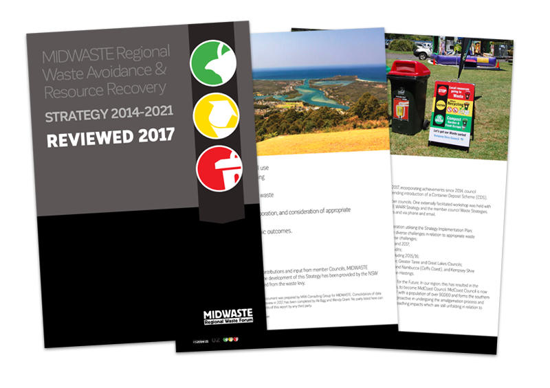 Image of cover and two inside pages of MidWaste Regional Waste Avoidance and Resource Recovery Strategy 2014 to 2021