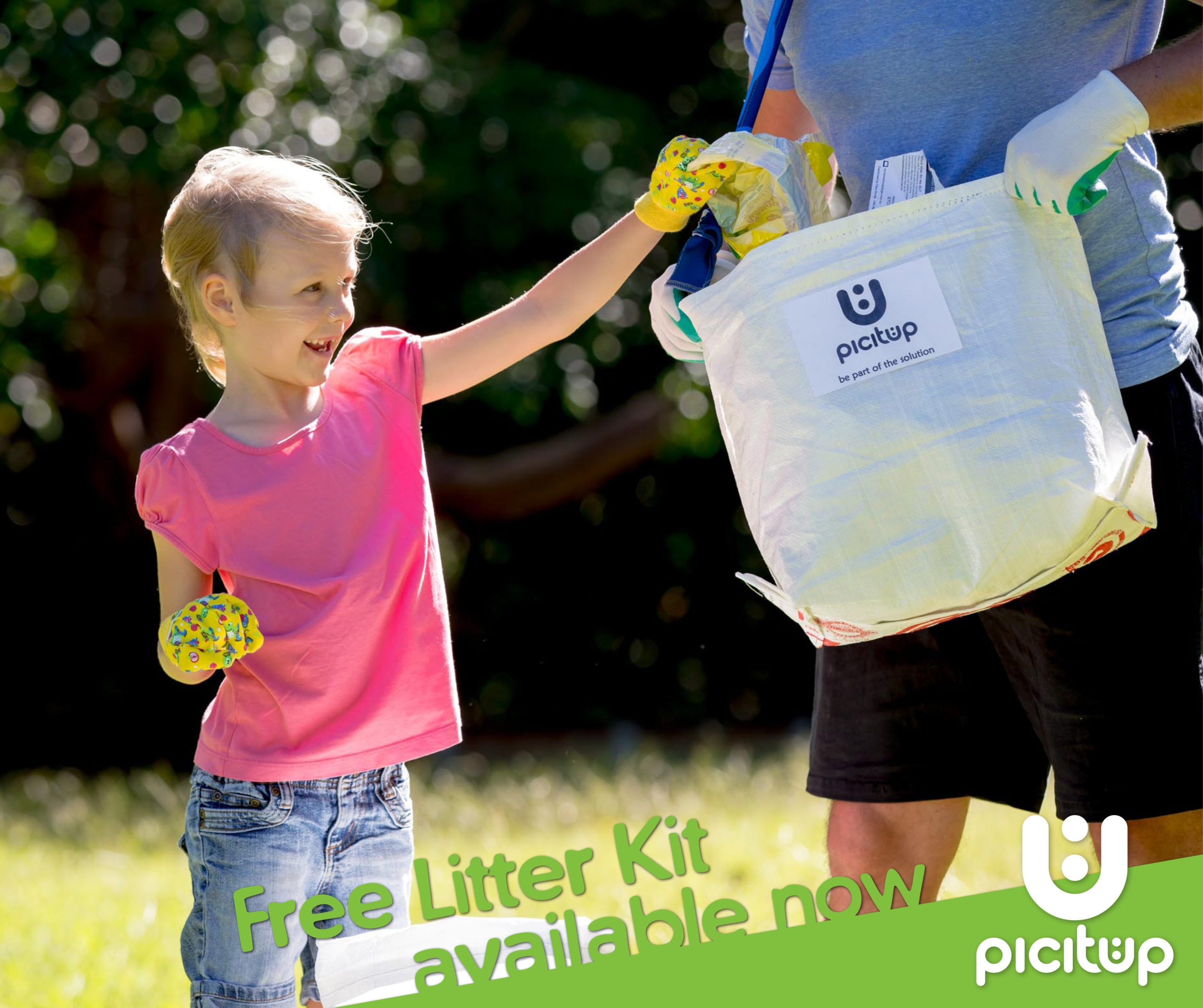 Picitup Social Media Campaign Image of young child picking up rubbish out in the community
